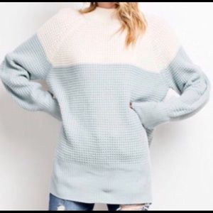 NWT cozy knit color block sweater with split back